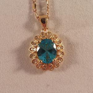 Jewelry - 18K YGF Blue Topaz Zircon Pendant Necklace!